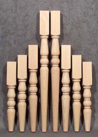 Tischbeine Holz in vier verschiedenen Höhen aus gedämpfter Buche